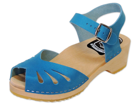 Clog Sandal Butterfly Blue Nubuck