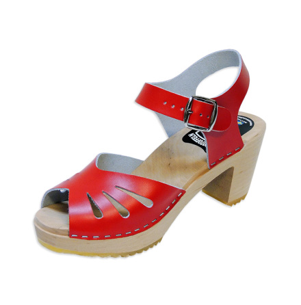 Clog Sandal Butterfly Red high heel