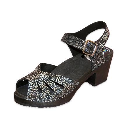 Clog Sandal Butterfly Stingray Black high heel