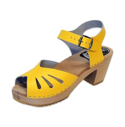 Clog Sandal Butterfly Yellow high heel