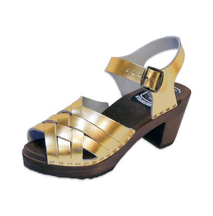 Clog Sandal Ankle Triple Gold high heel