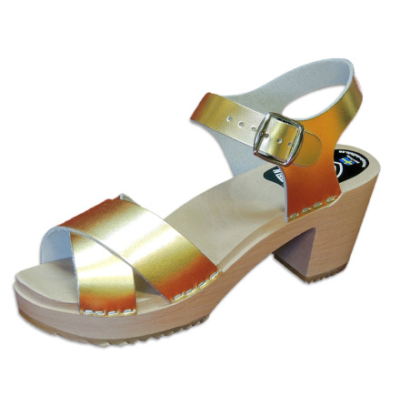Clog Sandal Ankle Cross Gold high heel
