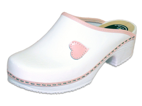 My Heart White Patent Clogs