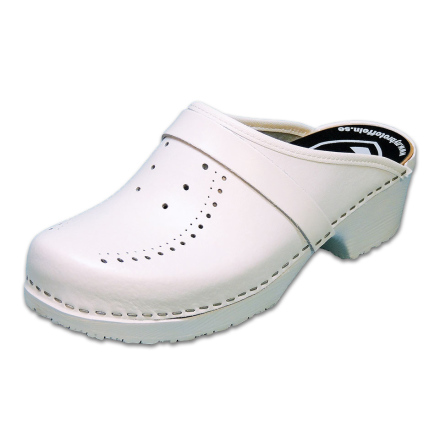 White Perforated PU Men´s Clogs