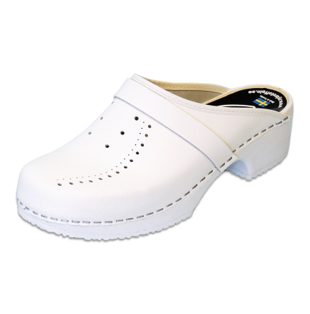 White Perforated PU Women´s Clogs