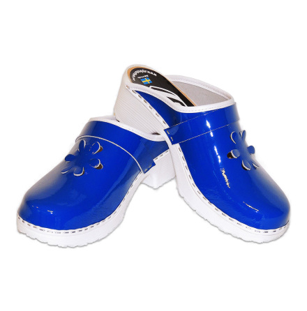 Flower 1B PU Blue Patent Women´s Clogs