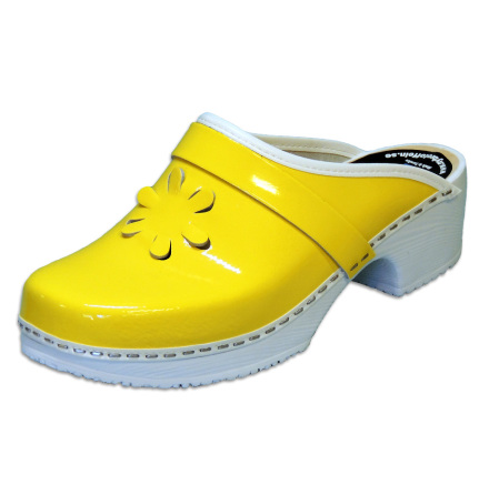 Flower 1B PU Yellow Patent Women´s Clogs