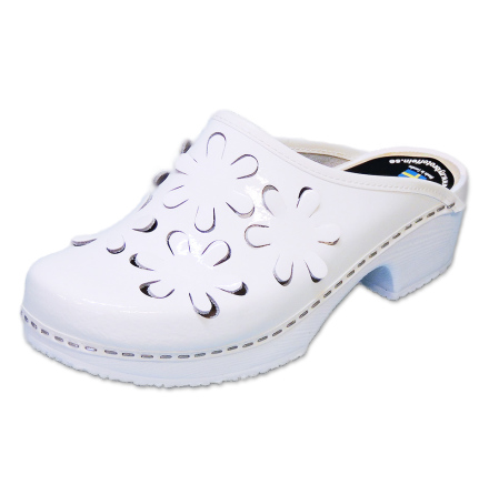Flower 5B PU White Patent Women´s Clogs