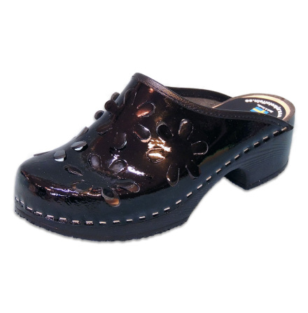 Flower 5B PU Black Patent Women´s Clogs