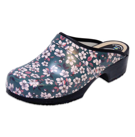 Sakura Teal Women´s Soft Sole Clogs