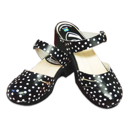 Clog Sandal Polly Close Black Polka Dots