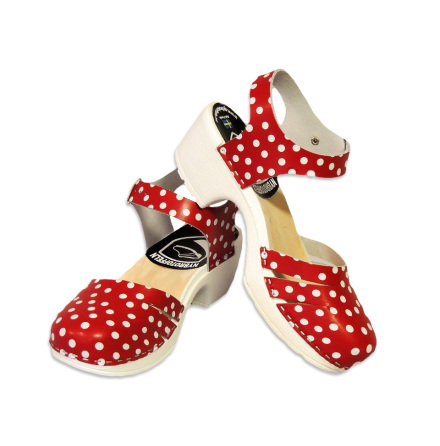 Clog Sandal Ankle Close Red Polka Dots PU